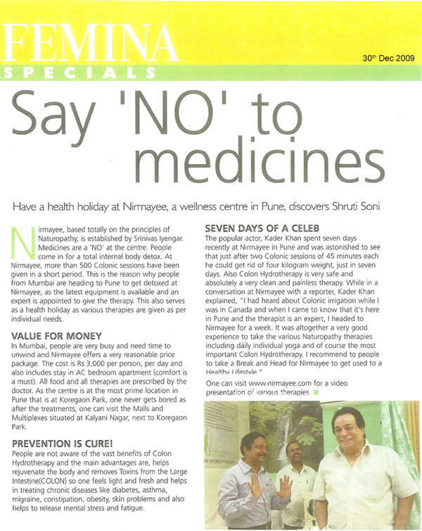 Say no to medicines article